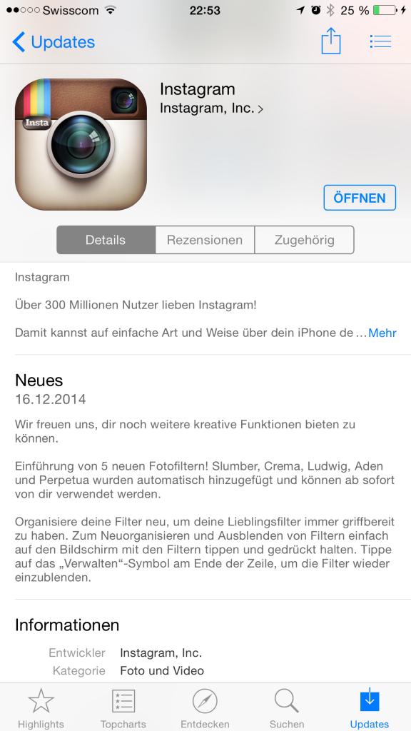 Instagram Update vom 16. Dezember 2014