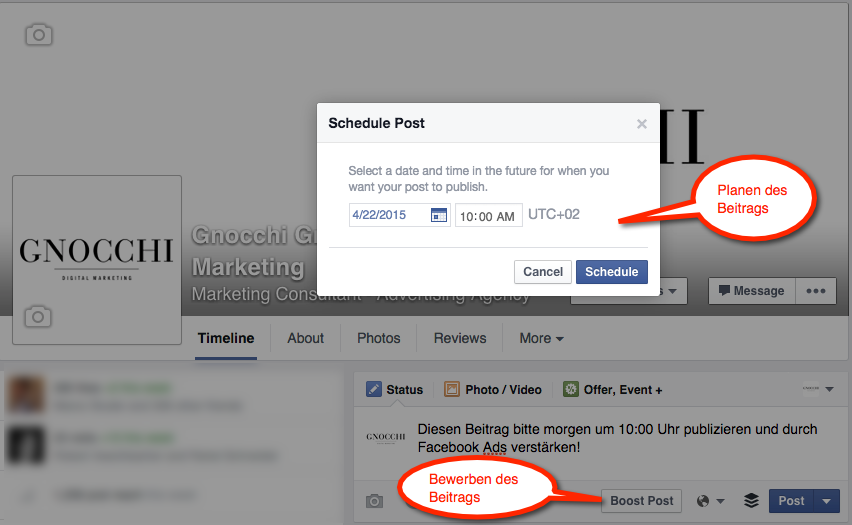 Facebook: Planen und bewerben des Beitrags