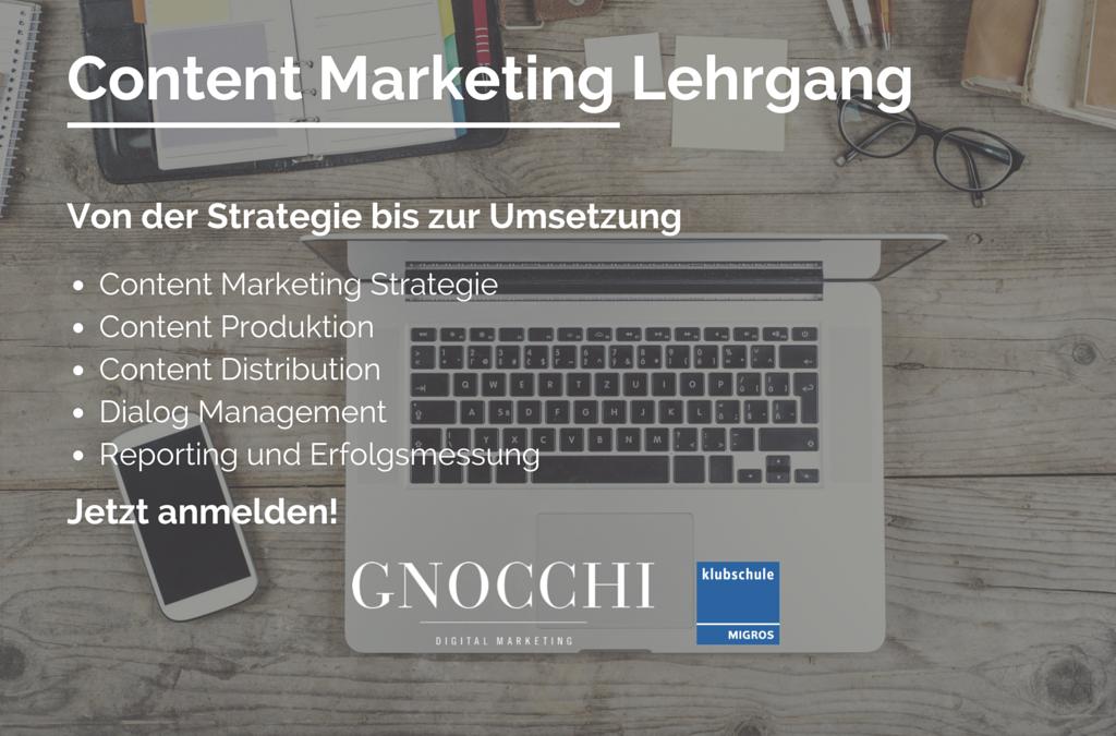Content Marketing Lehrgang an der Klubschule Migros