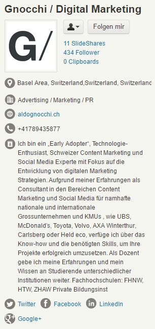 Slideshare Profil Gnocchi GmbH